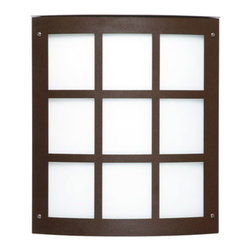 Besa Lighting - Moto Bronze ADA One-Light Incandescent Grid Outdoor Wall Sconce with White Acryl - - White Acrylic is a clean, glossy, semi-translucent white that suits well for any modern or contemporary decors. When lit it gives off a soft glow that exudes a warm mood. The acrylic offers greater resistance to the abuse of the elements perfect for outdoor applications.  - Bulbs not Included  - Title XXIV compliant  - Primary Metal Composition: Stainless Steel  - Shade Material: Acrylic  - NOTICE: Due to the artistic nature of art glass, each piece is uniquely beautiful and may all differ slightly if ordering in multiples. Some glass decors may have a different appearance when illuminated. Many of our glasses are handmade and will have variances in their decors. Color, patterning, air bubbles and vibrancy of the d�cor may also appear differently when the fixture is lit and unlit. Besa Lighting - 106-WA-BR