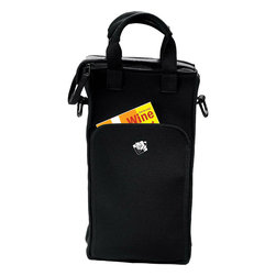 Wine Enthusiast - Wine Enthusiast 2-Bottle Zippered Neoprene Wine Tote Bag - -Black messenger bag style with Wine Enthusiast logo silk-screened in white