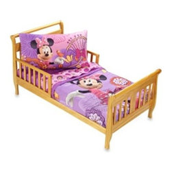 "Disney - Crown Crafts Disney Minnie Mouse ""Fluttery Friends"" 4-Piece Toddler Set - Your child will love Minnie and her Fluttery Friends in this pretty and adorable 4-piece set by Crown Crafts. The set includes a toddler quilt, flat sheet, fitted sheet and pillowcase."