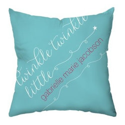 Little Star Personalized Throw Pillow - A sweetly modern way to dress her space, this Little Star Personalized Throw Pillow welcomes baby home in style. A cute and customized gift idea, personalize this pillow with the name of your choice. It has a teal polyester cover with white and pink script. Its cotton and polyester blend fill and coordinating colors and monogram on the reverse make it just right.