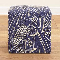 Indigo Koi Fish Upholstered Cube -