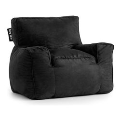 Comfort Research - Comfort Research Big Joe Media Suite Lounger // Black Comfort Suede - Not only does the Big Joe Suite Lounger have the look of your favorite chair, but it has the added bonus of built-in, high quality speakers with bluetooth capability! Now you can have the perfect seat for any room in your house and enjoy your favorite music, tv show, movie or video game! Made with soft, durable microsuede or faux leather. Filled with UltimaX Beans that conform to you.  Double stitched and double zippers for added strength and safety. Spot clean.