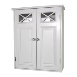 None - Virgo 2-door Wall Cabinet - Spacious wall cabinets can add more storage space to your bathroom. Made of durable wood with a white finish,these cabinets easily complement any bathroom's interior design.
