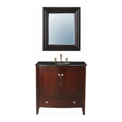 "Stufurhome - 36"" Alicia Single Sink Vanity with Black Galaxy Granite Top and Mirror - Classic double vanity sink"