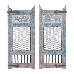 UMA - Cool Blue Vintage Wood Panels Set of 2 - Two wall panels made to resemble vintage doors with distressed wood finished, mesh panels and aged hardware.