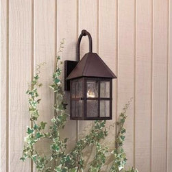 Minka-Lavery - Townsend Exterior Wall Light - Handsome outdoor wall light features solid brass construction, a Rust finish and soldered seedy glass panels and stiles that reflect the rivet and solder construction of the era.  Minka-Lavery - 8581-51
