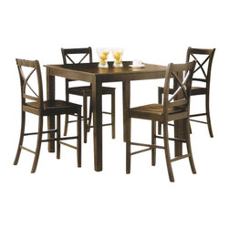 "Acme - 5 PC Espresso Finish Wood ""X"" Back Design Chairs Counter Height & Dining Table - 5-Piece espresso finish wood ""X"" back design chairs counter height small dining table set, This set features an espresso finish wood frame and top, with cross back chairs with solid wood seat. Table measures 40"" x 40"" x 36"" H, stools measure 24"" H at the seat. This set only comes in a 5-Piece pack. Some assembly required."