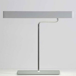 """Prandina - Prandina Teca table lamp - The Teca table lamp by Prandina has been designed by UFFICIO TECNICO PRANDINA/AZZOLIN in 2005-2007. This table mounted luminaire is perfect for direct and downward fluorescent lighting. 270  revolving diffuser and base in matte silver grey or white painted die-cast aluminium. Chrome finished stem. Built-in non dimmable electronic gear. Switch incorporated in the head.   Product description: The Teca table lamp by Prandina has been designed by UFFICIO TECNICO PRANDINA/AZZOLIN in 2005-2007. This table mounted luminaire is perfect for direct and downward fluorescent lighting. 270  revolving diffuser and base in matte silver grey or white painted die-cast aluminium. Chrome finished stem. Built-in non dimmable electronic gear. Switch incorporated in the head.  Details:                         Manufacturer:            Prandina                                    Designer:                         UFFICIO TECNICO PRANDINA/AZZOLIN                                         Made in:            Italy                            Dimensions:                        Small: T1 Overall Height: 17.3/8"""" (44 cm) X Diffuser Width: 26"""" (66 cm) Base Width: 15.3/4"""" (40 cm)                          Large: T12 Overall Height: 23 5/8"""" (66 cm) X Diffuser Width: 26"""" (66 cm) Base Width: 15.3/4"""" (40 cm)                                                                                                      Light bulb::            Small and Large: 1 x 24W fluorescent                            Material:            Aluminum, Chrome"""
