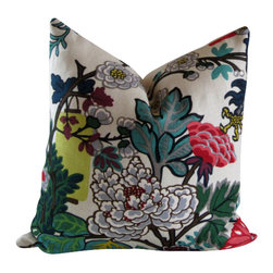 Schumacher - Chiang Mai Dragon 20 inch Decorative Pillow Cover With Hydrangea and Teal Leaf - One of Schumacher's best-loved designs, Chiang Mai Dragon was originally derived from an exuberant 1920's Art Deco era block print. The pattern is table printed on a linen ground.