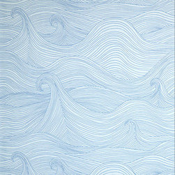 Blue Pattern Wallpaper - These abstract waves are great for a teen boy who loves to surf. It looks good without screaming beach theme.