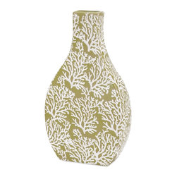 iMax Corporation - Coral Small Ceramic Vase - A feminine riff on a reef, this small and shapely ceramic vase in seaweed green is overlaid with a delicate pattern of fan coral.