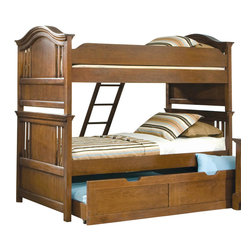 American Woodcrafters - American Woodcrafters Bradford Full Bunk Bed with Trundle Unit in Rich Cherry - A perfect fit for your childrens room, this Bradford Full Bunk Bed with Trundle Unit by American Woodcraftersmakes for a fun, practical, and beautiful addition. Along with the ability to break down into separate beds, this bunk bed set features a trundle unit, perfect for visiting family, or childrens sleep overs. Arched crown rails with open slats with cherry veneer panels give this already beautiful piece and even more stunning look. Transform your youth bedroom with this bunk bed set. This bed is available in Twin size also.