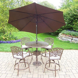 Oakland Living - 7-Pc Patio Bar Set - Includes a bar table, four swivel bar stools with cushions, 108 in. tilt crank umbrella with stand and metal hardware. Traditional lattice pattern and scroll work. Handcasted and lightweight. Durable and rust free. Fade, chip and crack resistant. Hardened powder coat. Warranty: One year. Made from cast aluminum. Antique bronze finish. Minimal assembly required. Table: 42 in. Dia. x 44 in. H (60 lbs.). Bar stool: 29 in. Dia. x 45.75 in. HThe Oakland Mississippi Collection combines grace style and modern designs giving you a rich addition to any outdoor setting. The pattern is crisp and stylish. Each piece is finished for the highest quality possible. This set will be a beautiful addition to your patio, balcony or outdoor entertainment area. Our bar sets are perfect for any small space, or to accent a larger space. We recommend that the products be covered to protect them when not in use. To preserve the beauty and finish of the metal products, we recommend applying an epoxy clear coat once a year. However, because of the nature of iron it will eventually rust when exposed to the elements.