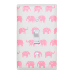 Elephant Nursery - Handmade light switch plates are a fun and creative way to add the perfect finishing touch to your child's room or baby nursery!  This light switch plate features adorable pink elephants on a white background!