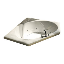 Spa World Corp - Atlantis Tubs 6060VDL Venus 60x60x23 Inch Whirlpool Jetted Bathtub - The Vogues chic design offers a fashionable yet traditional tub that comes in several sizes. The Vogue is oval on the interior and encompassed by a wide rectangular shape which provides more space for your favorite bathing fragrances and accessories. On one end, the tub rises up and back for added comfort when laying back, The Vogue will be the interior design centerpiece of your home.