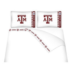 Sports Coverage - Sports Coverage NCAA Texas A & M Aggies Microfiber Sheet Set - Full - NCAA Texas A & M Aggies Microfiber Sheet Set have an ultra-fine peach weave that is softer and more comfortable than cotton! This Micro Fiber Sheet Set includes one flat sheet, one fitted sheet and a pillow case. Its brushed silk-like embrace provides good insulation and warmth, yet is breathable. It is wrinkle-resistant, stain-resistant, washes beautifully, and dries quickly. The pillowcase only has a white-on-white print and the officially licensed team name and logo printed in team colors. Made from 92 gsm microfiber for extra stability and soothing texture and 11 pocket. Sheet Sets are plain white in color with no team logo. Get your NCAA Sheets Today.   Features:  -  92 gsm Microfiber,   - 100% Polyester,    - Machine wash in cold water with light colors,    -  Use gentle cycle and no bleach,   -  Tumble-dry,   - Do not iron,