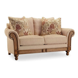 "Hooker Furniture - Hooker Furniture Windward Loveseat - Relaxing with Windward offering a laid back lifestyle wherever the locale. Windward offers functional bedroom, dining room, home office, home entertainment pieces and living room tables in a mellow light brown finish and is crafted using hardwood solids and cherry veneers with raffia accents. Hardwood Solids and Cherry Veneers; Raffia Accents. Dimensions: 60.5""W x 32.75""D x 27.25""H."