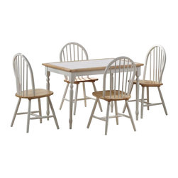 Boraam - Boraam Tile Top 5 Piece Dining Set in White and Natural - Boraam - Dinette Sets - 80130 - Boraam's high quality products are well styled and priced right. Benefitting from years of experience in the industry Boraam knows what you look for in quality furniture and takes pride in getting orders out as diligently as possible. Feel confident that Boraam will take your living space to another level.Set Includes: