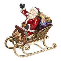 "Jay Strongwater - Jay Strongwater St. Nicholas Musical Santa In Sleigh Figurine - Jay Strongwater St. Nicholas Musical Santa In Sleigh Figurine  -   Size: 4.5""W x 7""H x 7.5""D   -   Finish: Natural   -   Hand-Painted Enamel Over Metal   -   Hand-Set With Swarovski Crystals   -   Made In U.S.A. by Jay Strongwater Creations   -  Jay Strongwater Item Number: SDH1748 250"