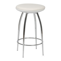 Bernie-C Counter Stool (Set Of 2)-Wht/Chr - For a stool so sturdy, the Bernie-C conveys a surprising  air of lightness and delicacy.  A commercial grade build, the beautifully tapered chromed steel legs add a certain dollop of extra style to the occupant.PVC seat