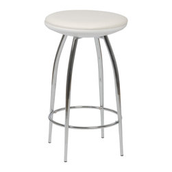 Eurostyle - Bernie-C Counter Stool (Set Of 2)-Wht/Chr - For a stool so sturdy, the Bernie-C conveys a surprising  air of lightness and delicacy.  A commercial grade build, the beautifully tapered chromed steel legs add a certain dollop of extra style to the occupant.PVC seat