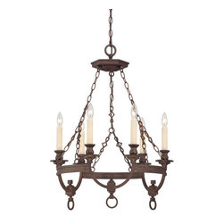 Savoy House - Craftsman / Mission 6 Light Chandelier from the Bastille Collection - Savoy House 1-6740-6 Bastille 6 Light ChandelierElegant simplicity defines this collection. The finish is rich and relaxed and the Soft Ivory Beeswax Candles create a glow that will warm your home.Features: