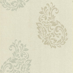 Kenneth James - Serene Paisley Spot Wallpaper - Paisley, a symbol of celebration in many cultures, swirls around this lovely wallpaper, making your favorite room feel festive. Sage and taupe paisley swirls are embossed on fabric to create a luxe look perfect for your living room or dining room. Each wallpaper bolt is 20.5 inches wide and 33 feet long, covering about 56 square feet of your room.