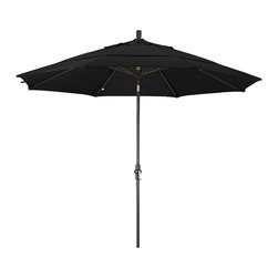None - Fiberglass Midnight Black Olefin Crank/Tilt Umbrella (11-foot) - Update your patio decor and add a touch of shade with this umbrella. Resistant to mildew, mold and fading, this umbrella features a durable olefin construction and boasts a convenient crank open mechanism and premium collar tilt.