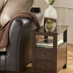 Signature Design by Ashley - Chairside Cabinet End Table - Constructed with birch veneers and hardwood solids in a dark brown finish. End tables feature working drawers. Color: Dark Brown. 14 in. L x 24 in. W x 24 in. H (42.46 lbs)