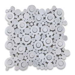Stone Center Corp - Carrara White Marble Circle Bubble Mosaic Tile Honed Venato Carrera - Premium Grade Circle Bubble Carrara Marble Mosaic tiles. Italian Bianco Carrera White Venato Carrara Honed 12 x 12 Random Circle Bubble Pattern Wall and Floor Tiles are perfect for any interior/exterior projects. The Carrara White Marble Circle Bubble Pattern Mosaic tiles can be used for a bathroom flooring, shower surround, gardern, paving, balcony, corridor, terrace, spa, pool, fountain, etc.
