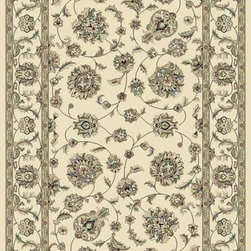 "Dynamic Rugs - Dynamic Rugs Ancient Garden 57365-6464 (Ivory) 6'7"" x 9'6"" Oval Rug - Turn of the Century Persian patterns are skill fully recreated in this exciting and sophisticated collection. The antique shades from sun-washed colors are blended softly with today's fashion of low contrast patterns with field colors of champagne, dusted blue, soft greens, creme, malt and a luxurious black or ruby red. Woven with DECOLAN, a wool-like fine heat-set polypropylene fibre at nearly a million points per square meter to achieve a fine pencil point finish and design clarity."