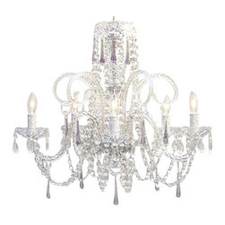 "The Gallery - Amethyst Purple Crystal Chandelier H25"" X W24"" - A Great European Tradition. Nothing is quite as elegant as the fine crystal chandeliers that gave sparkle to brilliant evenings at palaces and manor houses across Europe. This beautiful crystal chandelier is decorated with 100% crystal that capture and reflect the light of the candle bulbs, each resting in a scalloped bobache.The timeless elegance of this chandelier is sure to lend a special atmosphere in every home! Please note this item requires assembly. This item comes with 18 inches of chain. Size: H.25"" X W.24"" 5 LIGHTS. Lightbulbs not included."