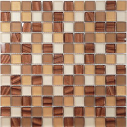 """Euro Glass - Hasbrook Brown 7/8"""" x 7/8"""" Bronze/Copper Opulence Series Glossy & Frosted Glass - Ancient Greece is the source of inspiration for new mosaics, with exquisite combinations of fine marble and exotic coloured glass. An authentic melting pot of styles and materials."""