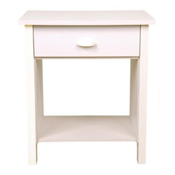 Venture Horizon - Nouvelle Contemporary White Nightstand w Shel - 1 Drawer. Large storage capacity. Elegant molding. Organizes all media. Doubles as an end table. Made in the USA. Assembly required. Weight: 29 lbs.. Assembled size: 21.25 in. W x 16 in. D x 24.75 in. H. Drawer: 12.75 in. L x 15.75 in. W x 3.75 in. HWe recently added a matching night stand to really complete our chest collection. This elegant addition stands 21.25 in. W x 16 in. D x 24.75 in. H. A perfect bedside addition. The bottom shelf is great for books, magazines or even your stereo. The open back assures easy access for power cords. Keep personal effects in the roomy 12.75 in. L x 15.75 in. W x 3.75 in. H deep drawer. There is plenty of room on top for a reading lamp, alarm clock and more. The night stand is of course available in the same 5 colors as their matching 3, 6 and 8 drawer chests.