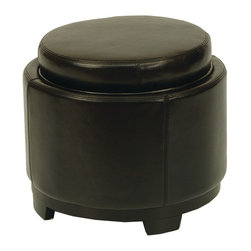 Safavieh - Safavieh Round Storage Tray Ottoman X-B5404DUH - Care Instruction: Although Leather is one of the most durable upholstery materials, proper care is viatal to maintain its appearance and performance. Dust weekly using a soft, clean cloth slightly dampened with distilled water. Blot spills immediately with a soft, clean absorbent dry cloth.