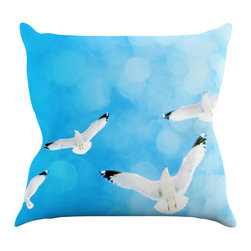 """Kess InHouse - Robin Dickinson """"Fly Free"""" Birds Sky Throw Pillow (16"""" x 16"""") - Rest among the art you love. Transform your hang out room into a hip gallery, that's also comfortable. With this pillow you can create an environment that reflects your unique style. It's amazing what a throw pillow can do to complete a room. (Kess InHouse is not responsible for pillow fighting that may occur as the result of creative stimulation)."""