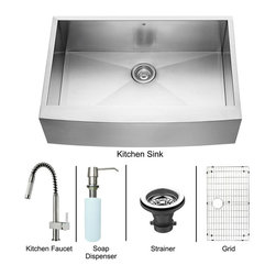 Vigo Industries - 33 in. Sink and Faucet Set - Includes apron front kitchen sink, faucet, soap dispenser, bottom grid, sink strainer, all mounting hardware and hot-cold waterlines.