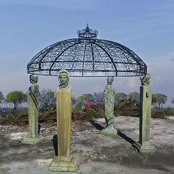 The Four Seasons Gazebo - This is a gazebo in the most traditional of sense. It's a reproduction from a 1920's original and just screams with character. It would be an unreal focal point to a larger yard. It's wrought iron dome is beautiful even with nothing growing on it.
