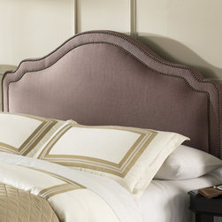 """FBG - Versailles Upholstered Headboard - The sophistication of the Versailles headboard is accented by the decorative nail-head trim. The design of this upholstered headboard adds a European flair to transitional styling. The Versailles headboard helps create a classic, tasteful bedroom to ease you into restful peace at the end of each day. Features: -100% Polyester covering 2"""" of dacron wrapped foam.-Made in the USA.-Solid wood frame construction.-Brown color.-Versailles collection.-Hardware Material: Metal.-Non Toxic: Yes.-Scratch Resistant: No.-Adjustable Height: Yes.-Tufted: No.-Wingback: No.-Lighting Included: No.-Wall Mounted: No.-Reversible: No.-Hardware Finish: Brown Sugar.-Finished Back: Yes.-Distressed: No.-Hidden Storage: No.-Freestanding: No.-Frame Required: Yes.-Frame Included: No.-Drill Holes for Frame: Yes.-Swatch Available: No.-Eco-Friendly: No.-Product Care: Frequently vacuum or brush to remove dust, spot clean using a mild water-free solvent or dry cleaning agent..-Recycled Content: No.Specifications: -EPP Compliant: No.-CPSIA or CPSC Compliant: Yes.-ASTM Certified: No.-ISTA 3A Certified: Yes.-General Conformity Certificate: Yes.-Green Guard Certified: No.Dimensions: -Overall Depth - Front to Back (Size: Twin): 4.25"""".-Overall Depth - Front to Back (Size: Full / Queen): 4.25"""".-Overall Depth - Front to Back (Size: King): 4.25"""".-Overall Product Weight (Size: Twin): 36 lbs.-Overall Product Weight (Size: King): 70 lbs.-Overall Product Weight (Size: Full / Queen): 53 lbs.Assembly: -Assembly Required: No.-Tools Needed: Phillips Screw Driver (NOT Included).-Additional Parts Required: No.Warranty: -Product Warranty: 10 Years."""