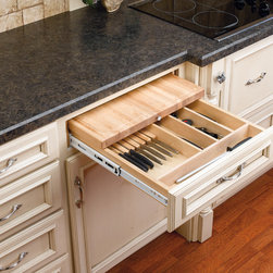 """Wood Classics Combination Knife Holder and Cutting Board - Maple - Rev-A-Shelf's state-of-the-art combination knife holder/cutting board system glides on full-extension ball bearing slides and is designed for base 18"""", 21"""" and 24"""" cabinets. The 4KCB Series features a removable mineral oil treated cutting board."""