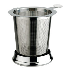 "Frieling - Medium Infuser With Lid, 3"" Tall - For cups, mugs, and teapots. Made of micro-etched 18/10 stainless steel. Includes cover to keep tea hot during steeping; reverse lid to serve as drip tray after steeping. The infuser it 3"" tall and fits mugs and teapots with an opening diameter of 2 1/2""  - 3 1/4""(using part of the handle)."