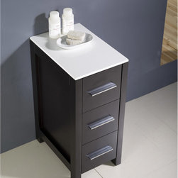 "Fresca - Fresca Torino 12"" Bathroom Linen Side Cabinet - This side cabinet comes in an espresso finish. It has 3 spacious drawers and a sleek ceramic countertop. Perfect match for all Fresca Torino ""espresso"" vanities."