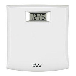 Conair - Weight Watchers Compact Scale Chrome - Weight Watchers Compact Precision Scale in white. Easy-to-Read 1-inch Digital Display; Polished Chrome Bezel; 10 x 11-inch High-gloss Black Platform; 330 lb Weight Capacity; Displays weight in 0.5 lb./200 g increments; Long-life lithium battery included.