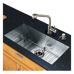 Vigo - All in One 32in.  Undermount Stainless Steel Kitchen Sink and Faucet Set - Add elegance and style to your kitchen with a VIGO All in One Kitchen Set featuring a 32in.  Undermount kitchen sink, faucet, soap dispenser, matching bottom grid and sink strainer.