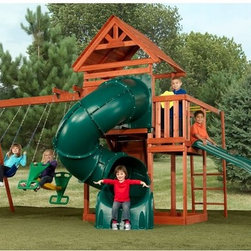 Swing-N-Slide - Swing-N-Slide Grandview Twist Wood Swing Set Multicolor - PB 8272T - Shop for Swings Slides and Gyms from Hayneedle.com! Everything a kid needs for outdoor fun is included with the Swing-N-Slide Grandview Twist Wood Swing Set. The lumber for this set is pre-cut and premium stained and assembles quickly and easily with the included bracket system. With two slides two swings a climbing rock wall and more there's always fun to be had. Choose from two deck heights 4-foot or 5-foot to go under the soaring wood roof. This set is recommended for children ages 2 to 10 and it can support up to 10 children at once at up to 115 lbs. each. All the lumber is included but you will need a power drill phillips bit square tape measure and socket set. This set requires 30L x 28W feet of space.Additional features5-ft. Turbo Tube SlideSlide Winder slideSunburst gable on deck roofTwo deck height options - 4 ft. or 5 ft.Magnetic chalkboard and rainwheelMulti-child glider2 swings with UV plastic-dipped chainsChallenging 8 rock wall with climbing ropeMonkey bars and picnic tableMeets or exceeds all ASTM standards for backyard residential useFour additional 2x4s are required for Turbo Slide installationAbout Swing-N-SlideFounded in 1985 Swing-N-Slide was America's first manufacturer of do-it-yourself wooden playground products. This remarkable company designs manufactures and distributes residential and commercial play sets across the nation. Committed to safety and driven by a desire to provide compliant fun and value-packed products Swing-N-Slide backs every play set with quality and pride. They offer unparalleled value and the unique opportunity to tailor playground products to your specific needs and budget.