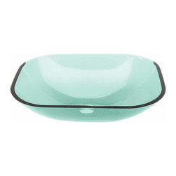 Renovators Supply - Vessel Sinks Green Glass Tourmaline Rectangular Vessel Sink | 12962 - Glass Vessel Sinks: Single Layer Tempered glass sinks are five times stronger than glass, 1/2 inch thick, withstand up to 350 F degrees, can resist moderate to high degrees of impact and are stain-proof. Ready to install this package includes FREE 100% solid brass chrome-plated pop-up drain, FREE machined 100% solid brass chrome-plated mounting ring and silicone gasket. Measures 18 3/4 inch L x 14 1/4 inch W x 4 7/8 inch deep. x 1/2 inch thick.