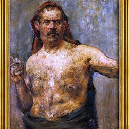"""Lovis Corinth-16""""x20"""" Framed Canvas - 16"""" x 20"""" Lovis Corinth Self Portrait with a Glass framed premium canvas print reproduced to meet museum quality standards. Our museum quality canvas prints are produced using high-precision print technology for a more accurate reproduction printed on high quality canvas with fade-resistant, archival inks. Our progressive business model allows us to offer works of art to you at the best wholesale pricing, significantly less than art gallery prices, affordable to all. This artwork is hand stretched onto wooden stretcher bars, then mounted into our 3"""" wide gold finish frame with black panel by one of our expert framers. Our framed canvas print comes with hardware, ready to hang on your wall.  We present a comprehensive collection of exceptional canvas art reproductions by Lovis Corinth."""