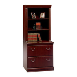 Bush Furniture - Bush Birmingham Lateral File with Hutch - Harvest Cherry Multicolor - BHI1264 - Shop for File and Storage Cabinets from Hayneedle.com! Make a powerful decorating statement with the Bush Birmingham Lateral File with Hutch - Harvest Cherry. A grooved pediment adds an engaging shape to the top of this cabinet. The drawers each have charcoal gray handles in a traditional shape and the wood has a Cherry finish. Put letter or legal sized files in this cabinet as the drawers effortlessly glide on full extension ball bearing slides. This cabinet adds a dash of elegance in a formal decor.You will have the opportunity to purchase matching furniture accessories once you have placed the cabinet in your shopping cart.About Bush FurnitureBush Furniture is the eighth largest furniture company in the United States. Bush manufactures high-quality products which are designed to be easily assembled and provide great value for the price. Bush furniture is made from a combination of particleboard fiberboard and solid wood components. The use of real wood components will be noted in the product description if applicable.Bush Industries has over 4 000 000 total square feet of manufacturing warehousing and distribution space. This allows for a very wide selection of high-quality furniture with the ability to ship quickly. All standard residential Bush products carry a generous 6-year warranty. All Bush business furniture including the A series C series and Quantum series is backed by a 10-year warranty from Bush one of the best in the industry.Please note this product does not ship to Pennsylvania.