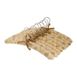 Enchante Accessories Inc - Raymond Waites Padded Clothes Hangers, Set of 8, Mustard - Gently padded and covered in soft cotton fabric, this set of 8 padded hangers is perfect for use in any closet.  Whether you're a perfectionist at organization and need all of your closet accessories to coordinate, or you just want to hang a few special garments on protective hangers, this vintage inspired set lends style and added function to your closet design.