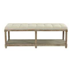 Saverne Tufted Bench - This is a great bench to place in your entry or family room for extra seating. The natural raw wood finish mixed with white linen gives this bench that coastal beach look.
